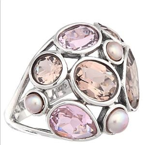 Silpada Sterling, Pearl, Glass ring Size 6